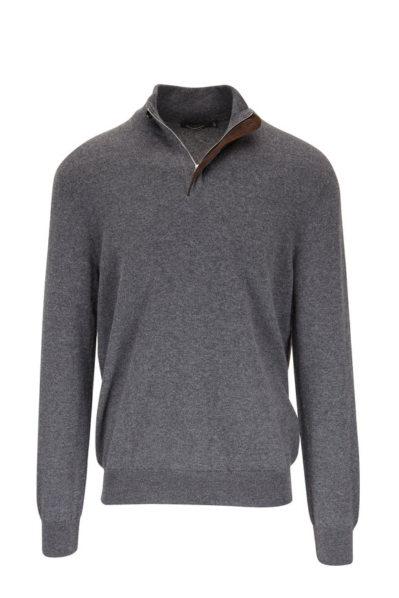 Ermenegildo Zegna Gray Cashmere Quarter-Zip Sweater