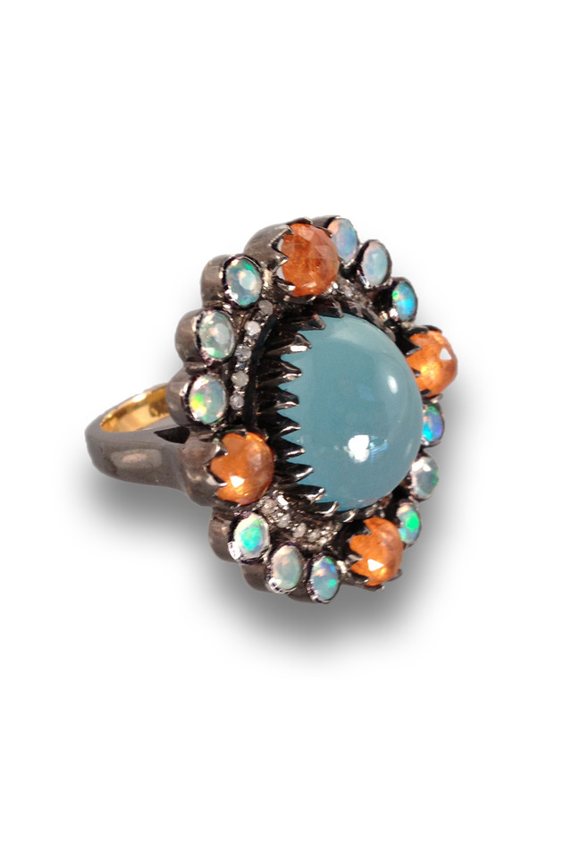 Gold And Silver Multi Stone Aquamarine Center Ring