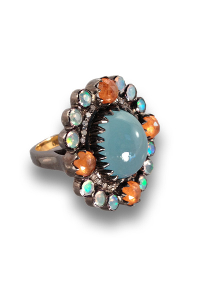 Loriann - Gold And Silver Multi Stone Aquamarine Center Ring