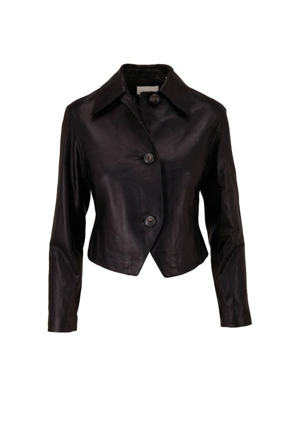 Vince Black Cropped Leather Jacket
