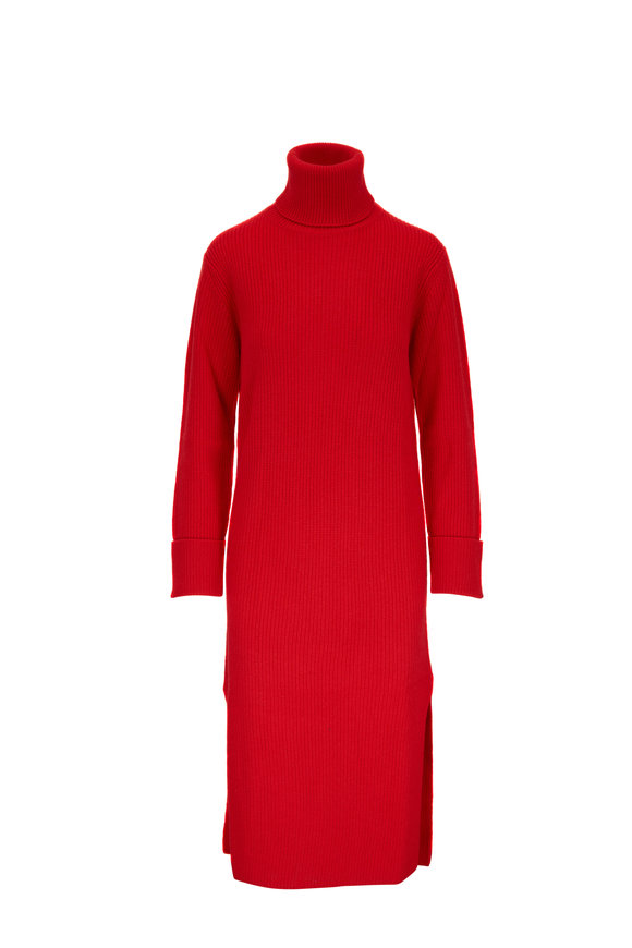 Carolina Herrera Lacquer Red Cashmere Rib Knit Turtleneck Dress