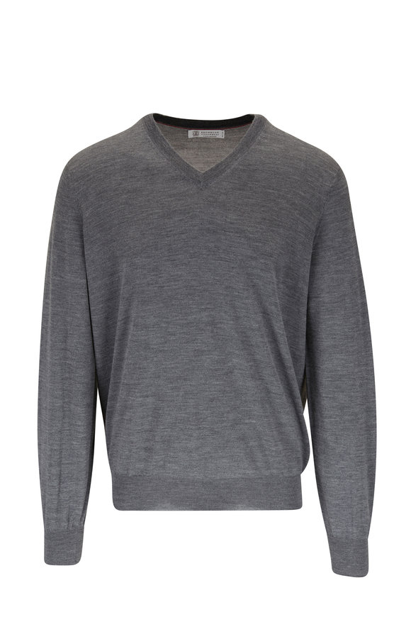 Brunello Cucinelli Charcoal Gray Wool & Cashmere Sweater