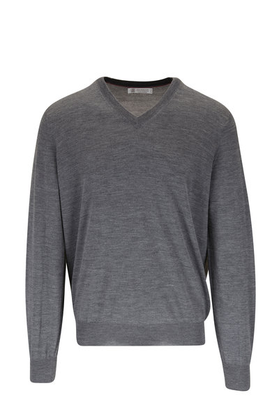 Brunello Cucinelli - Charcoal Gray Wool & Cashmere Sweater