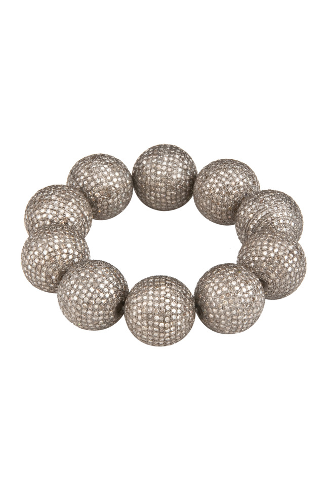 Pave Diamond Ball Stretch Bracelet