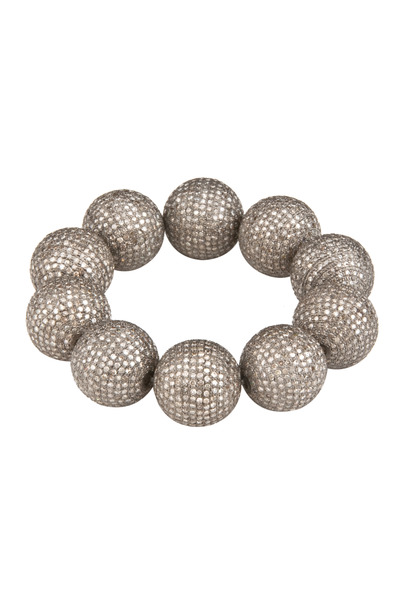 Loren Jewels - Pave Diamond Ball Stretch Bracelet