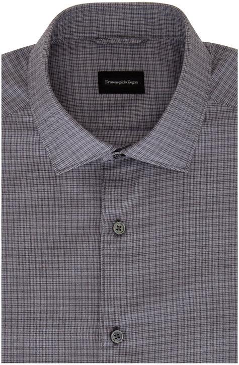 Ermenegildo Zegna Gray & Charcoal Mini Check Sport Shirt