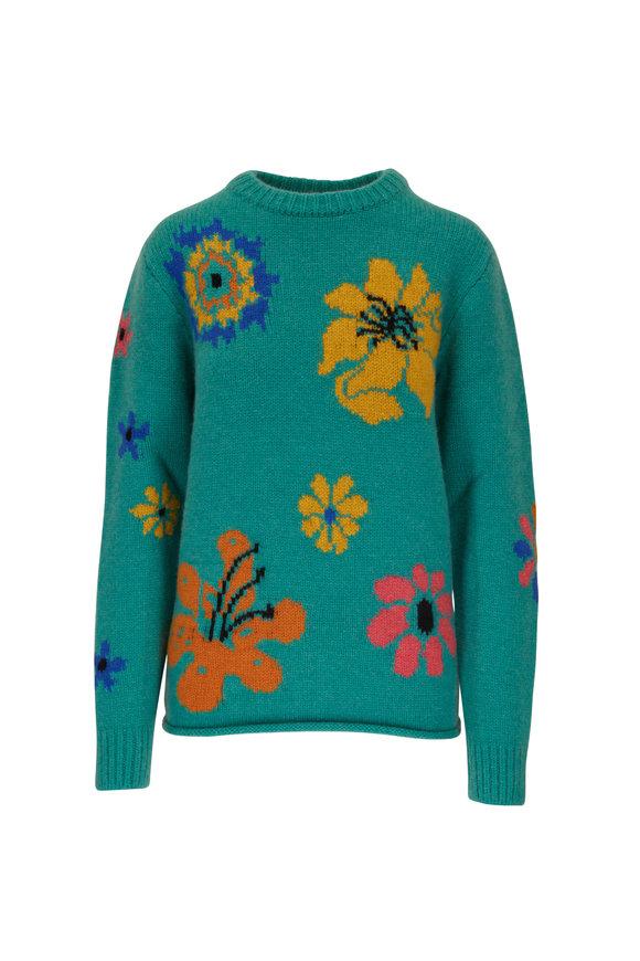 The Elder Statesman Blomerth Bloom Turquoise Crewneck Sweater