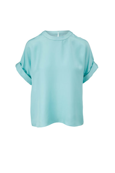 LaPointe - Aqua Silky Twill Rolled Sleeve Top