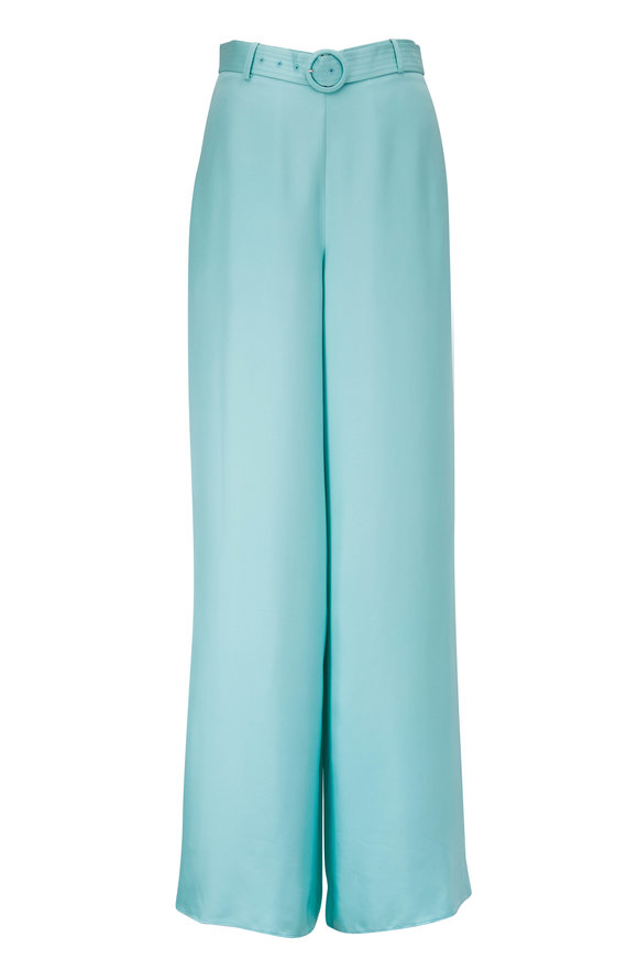LaPointe Aqua Silky Twill High-Rise Belted Pant