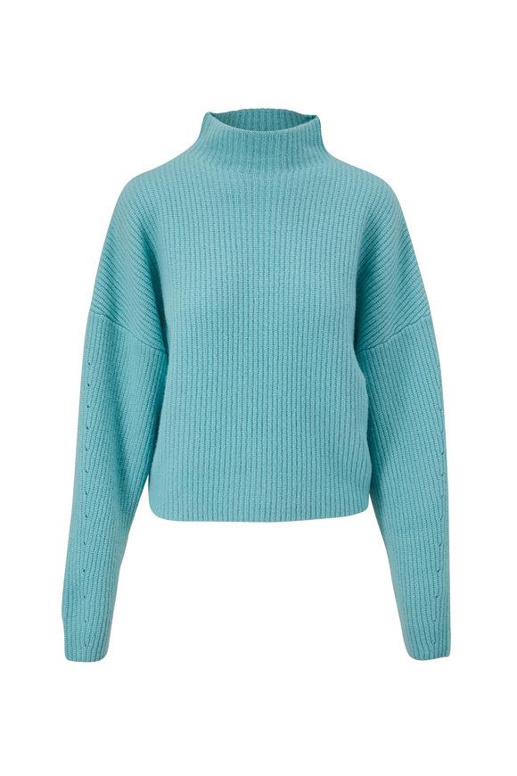 LaPointe Aqua Airy Silk & Cashmere Mockneck Sweater