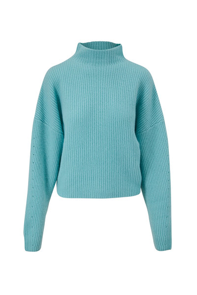 LaPointe - Aqua Airy Silk & Cashmere Mockneck Sweater