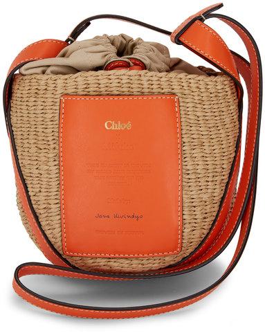 Chloé Small Basket Radiant Orange Raffia Crossbody