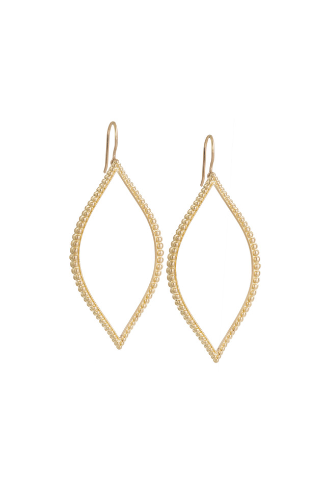 Yellow Gold Beaded Open Marquis Earrings