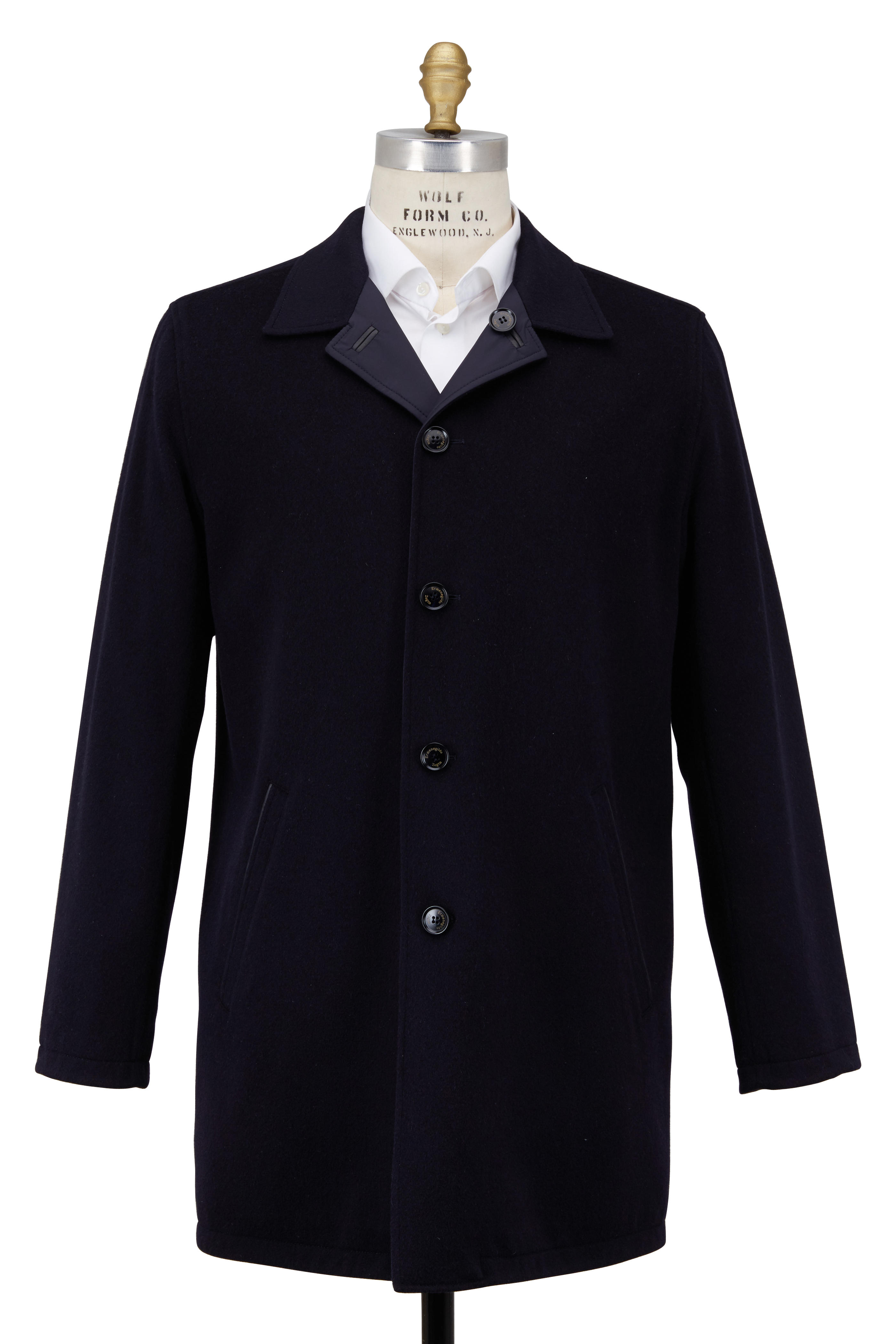cddad8d4 Ermenegildo Zegna - Navy Blue Wool & Cashmere Reversible Top Coat ...