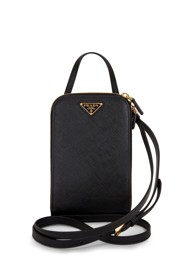 Prada Black Saffiano Leather Mini Phone Bag