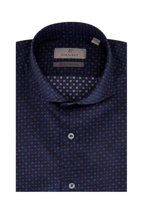 Canali Blue & Olive Print Sport Shirt