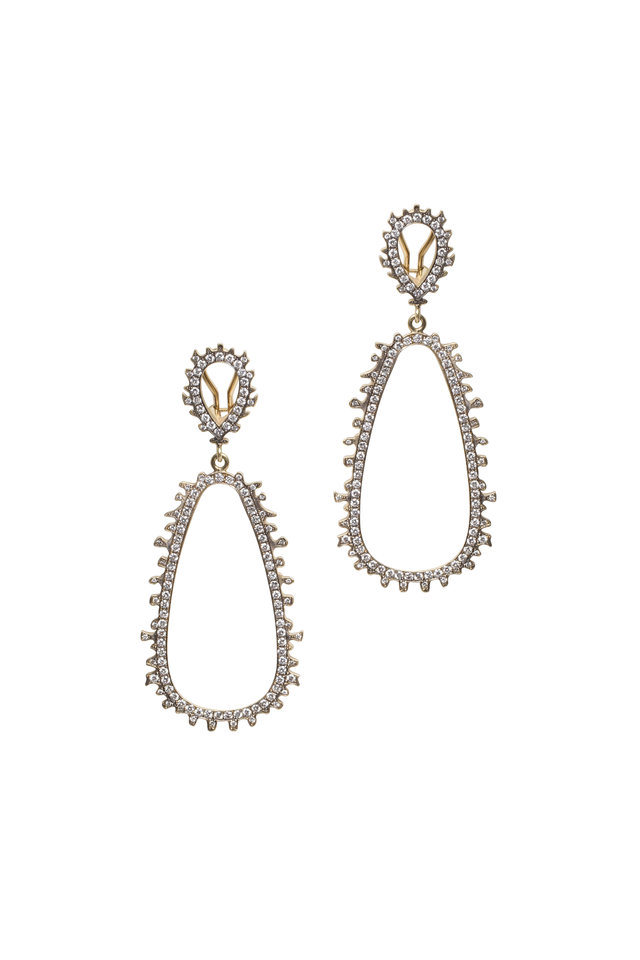 Yellow Gold Rough & White Diamond Earrings
