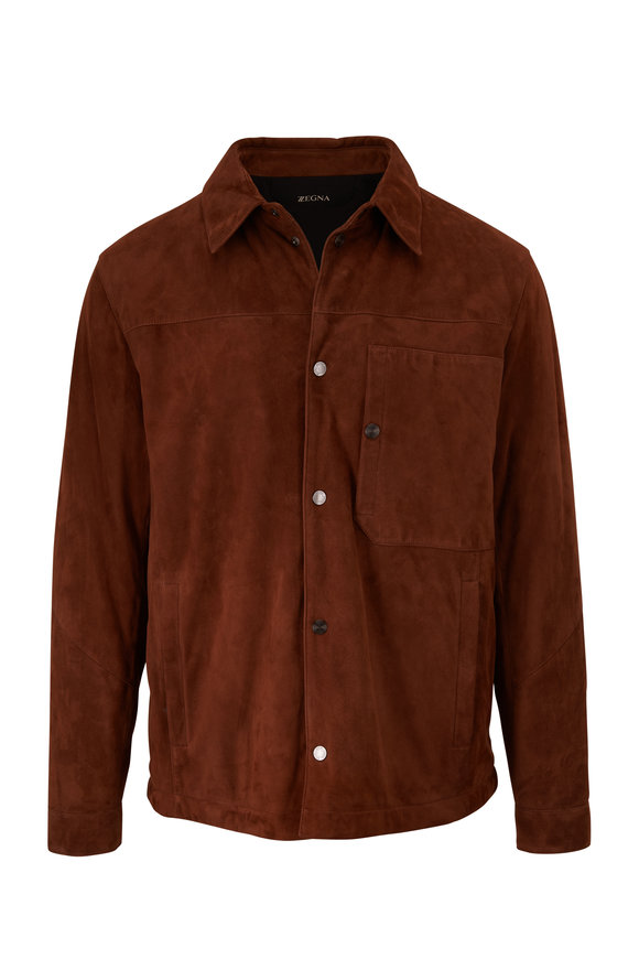 Z Zegna Brown Suede Shirt Jacket