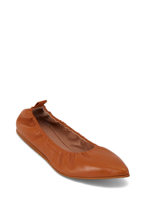 Gianvito Rossi Alina Sienna Nappa Leather Pointed Ballet Flat