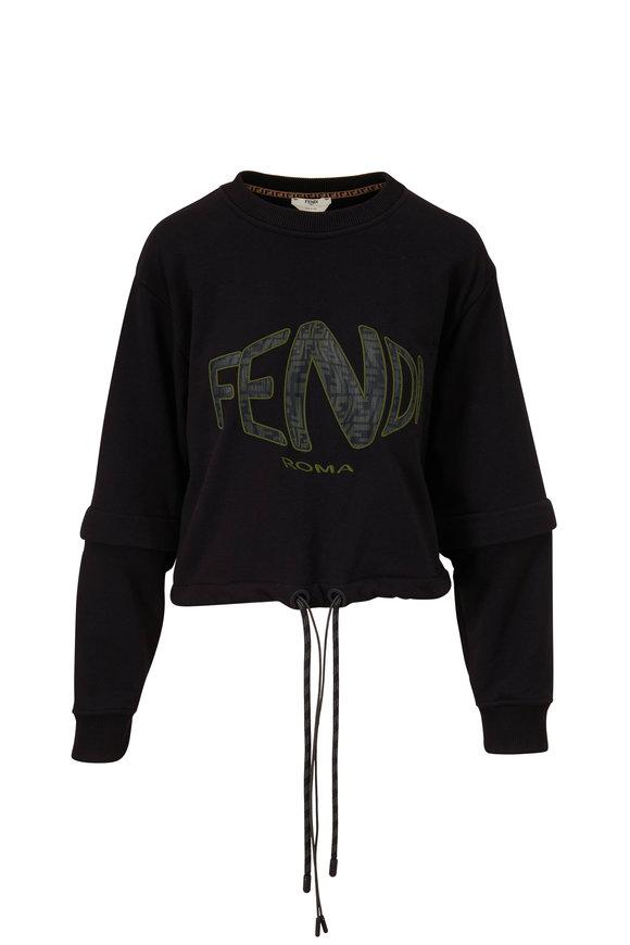 Fendi Black Fish Eye Logo Cropped Sweatshirt