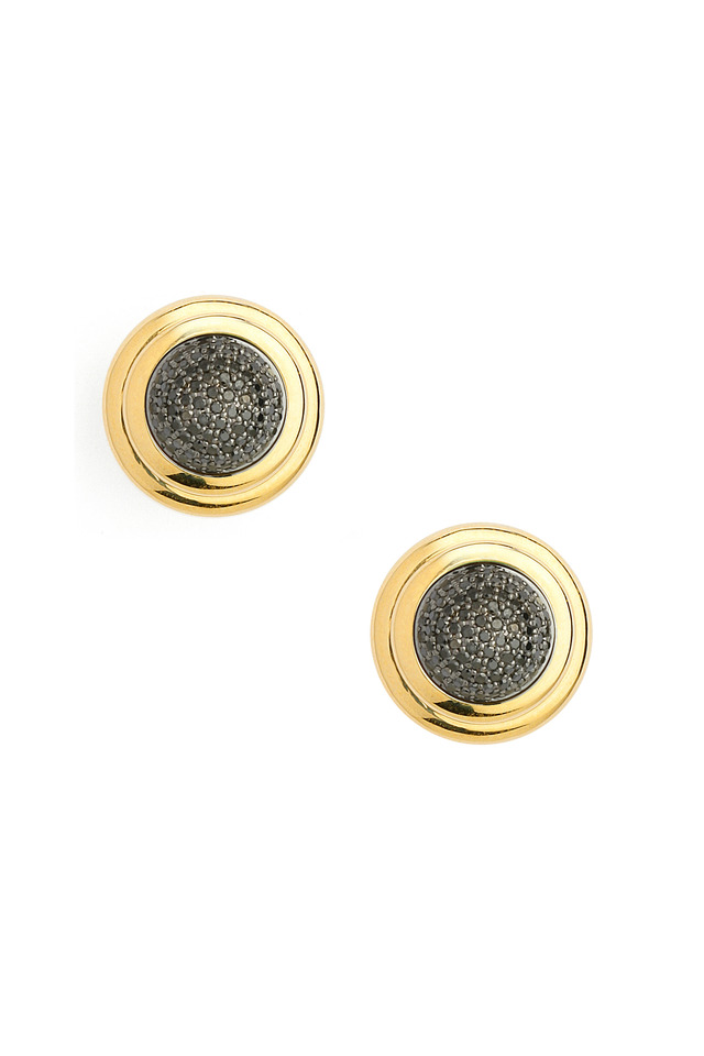 Yellow Gold Black Diamond Button Earrings