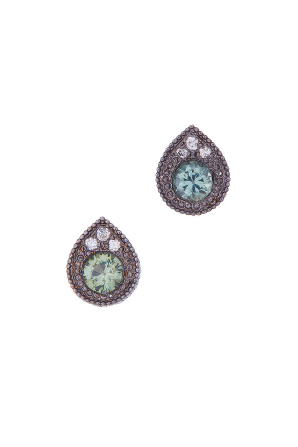 .925Suneera Green Sapphire & Diamond Studs