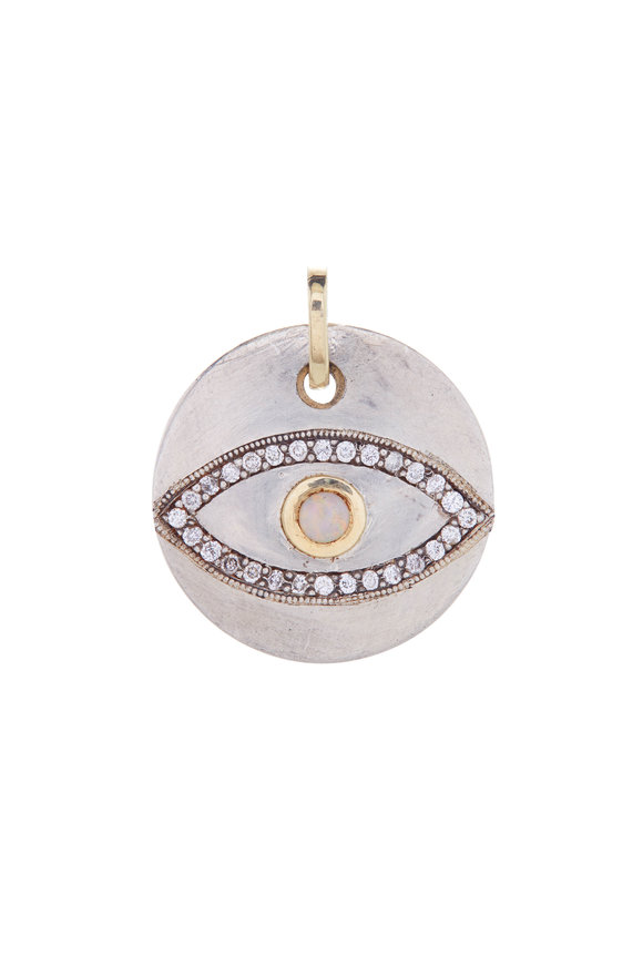 .925Suneera Diamond & Opal Eye Pendant