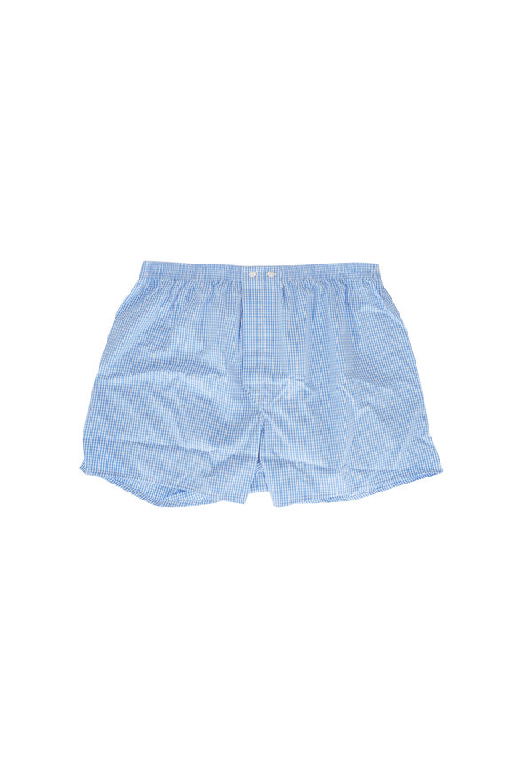 Derek Rose Blue Gingham Boxer Shorts