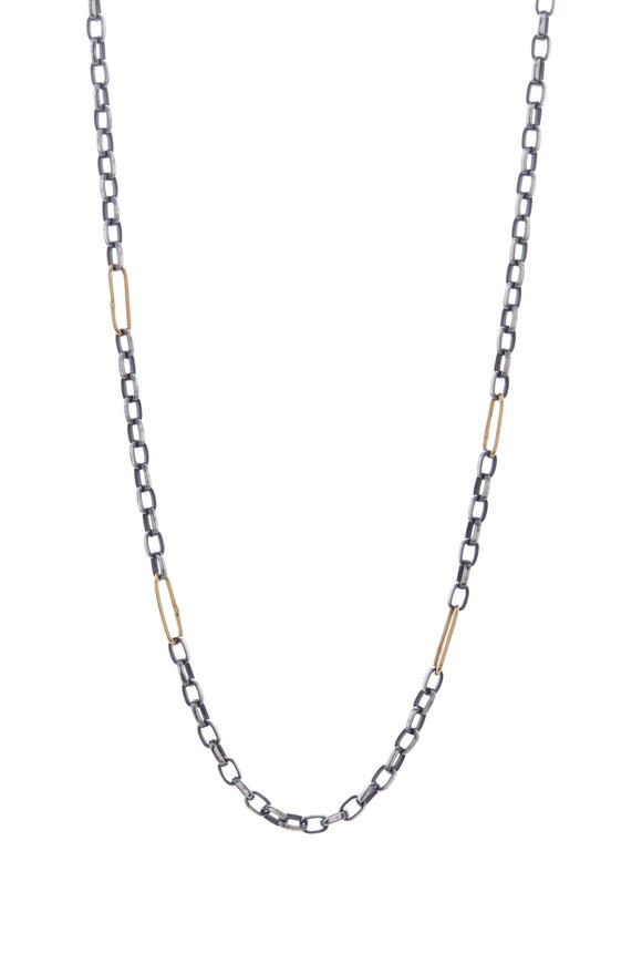Tina Negri Gold & Silver Oval Link Necklace