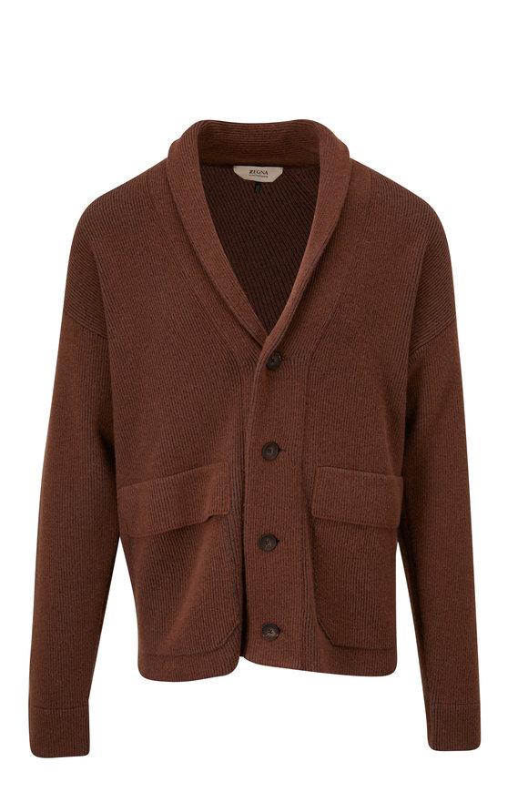 Z Zegna Brown Recycled Wool Shawl Collar Cardigan