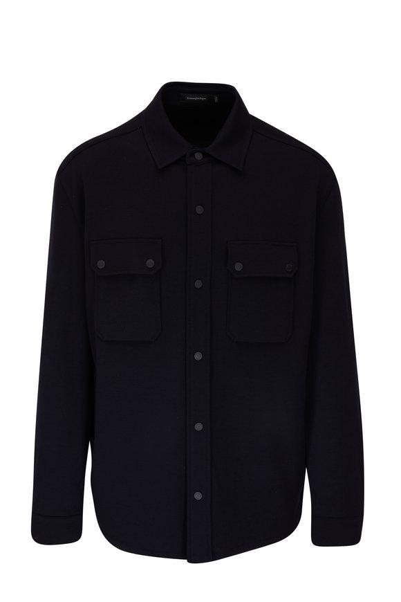 Ermenegildo Zegna Navy High Performance Knit Overshirt