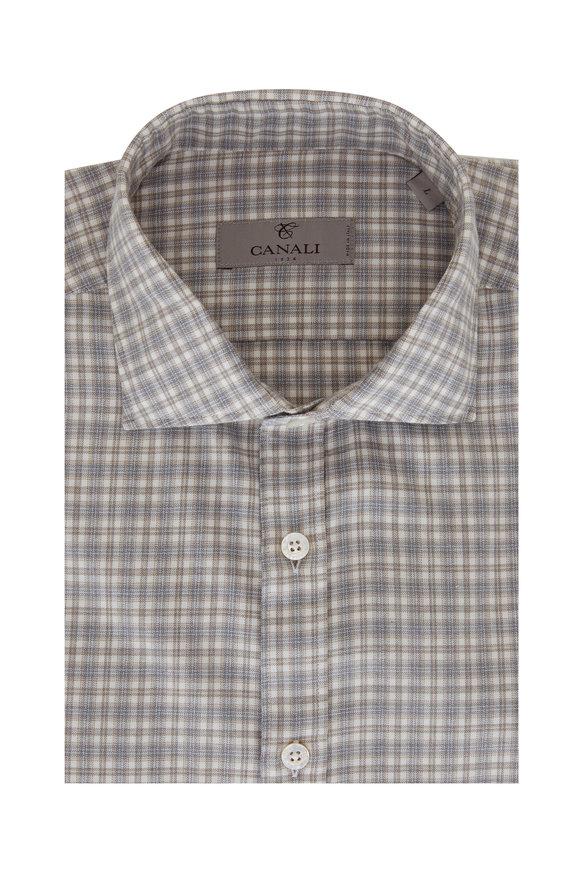 Canali Tan & Light Gray Plaid Sport Shirt