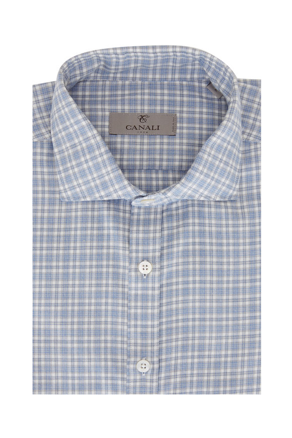Canali Light Blue & Tan Plaid Sport Shirt