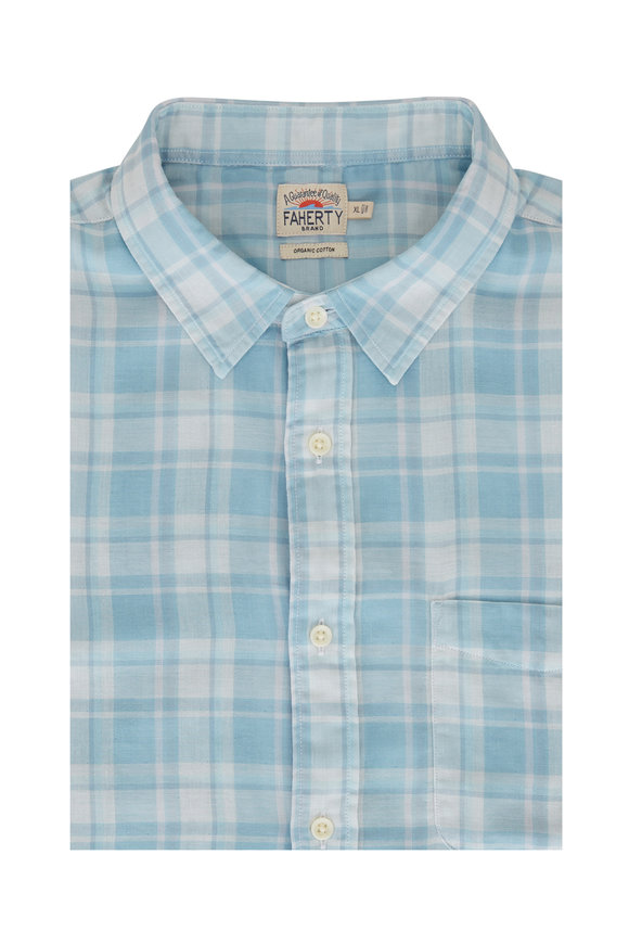 Faherty Brand Blue Plaid Double Cloth Button Down