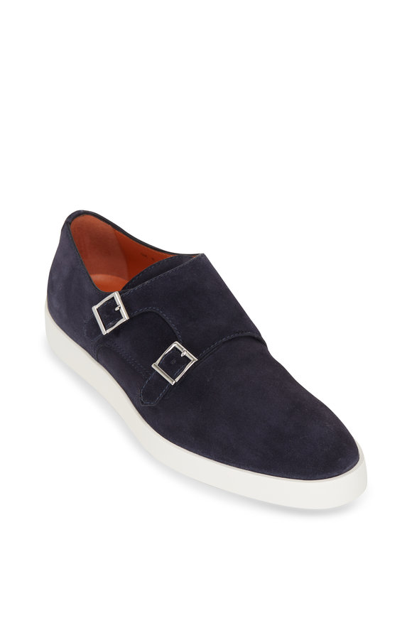 Santoni Bankable Navy Suede Double Monk Strap Shoe