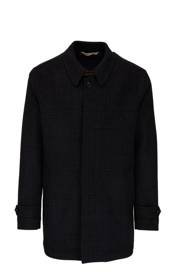 Maurizio Baldassari Charcoal Plaid Wool & Cashmere Coat