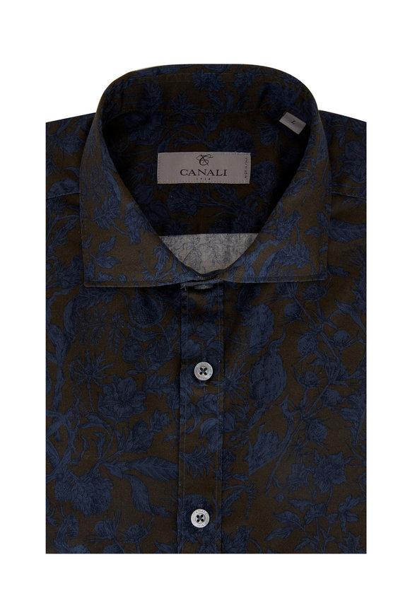 Canali Blue & Olive Thistle Print Sport Shirt