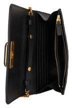 Valentino Garavani - Black San Gallo Embroidered Leather Chain Bag