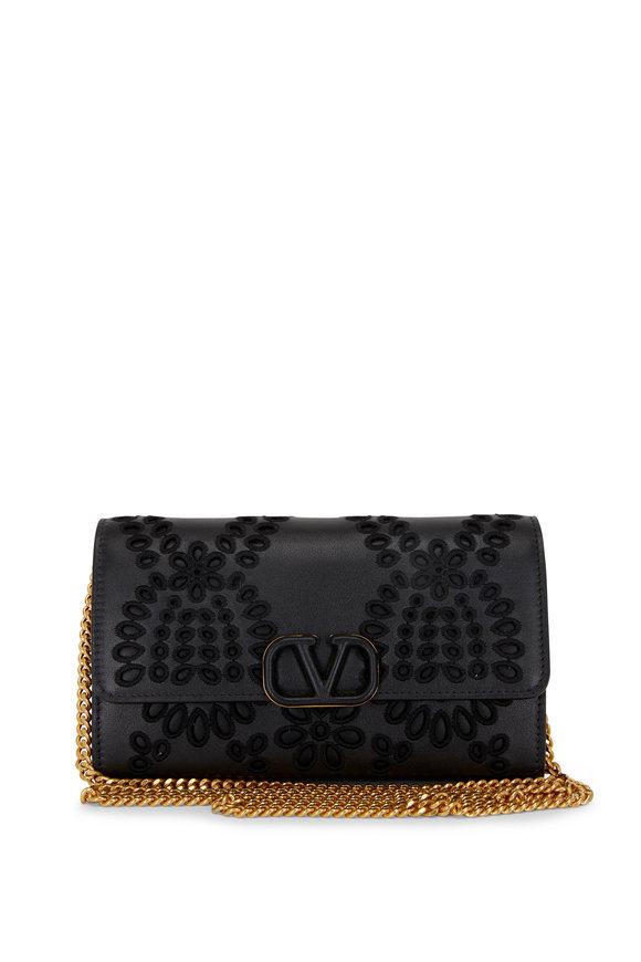 Valentino Garavani Black San Gallo Embroidered Leather Chain Bag