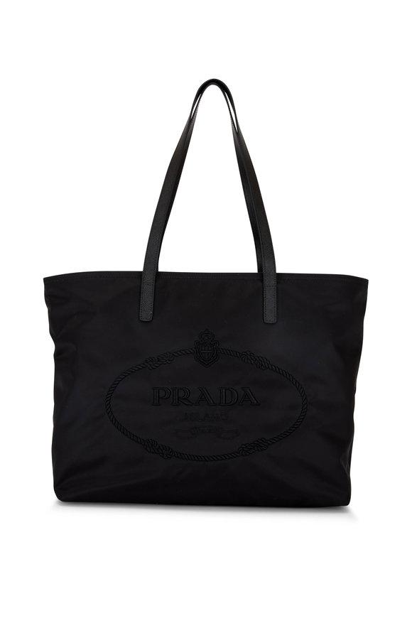 Prada Black Nylon & Leather Logo Tote
