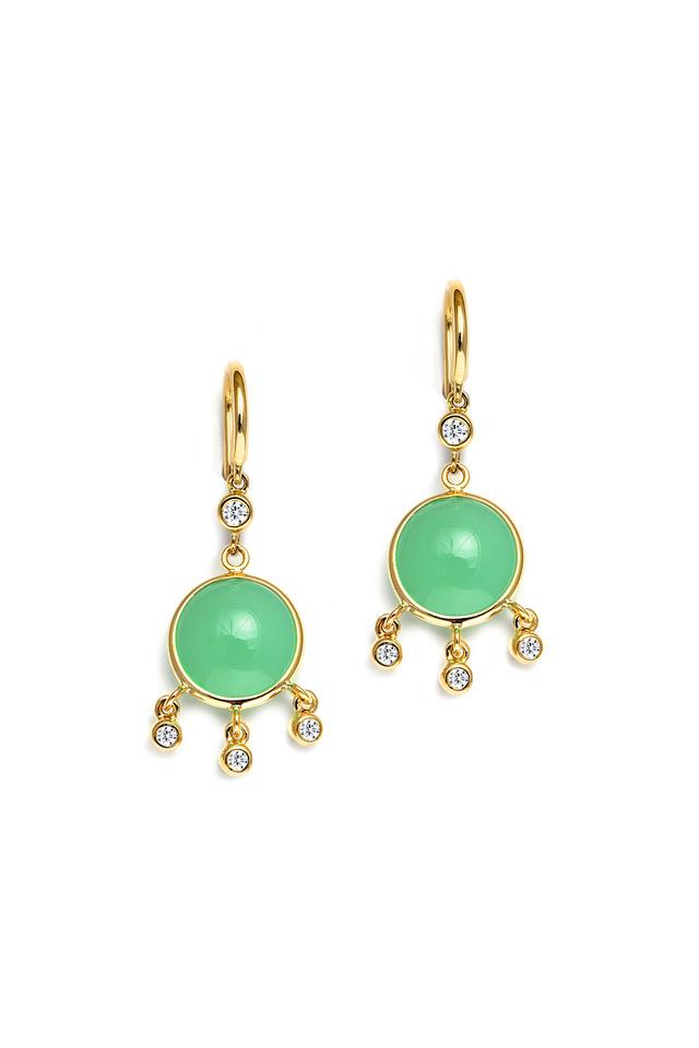 Chrysoprase Chakra Gold Earrings