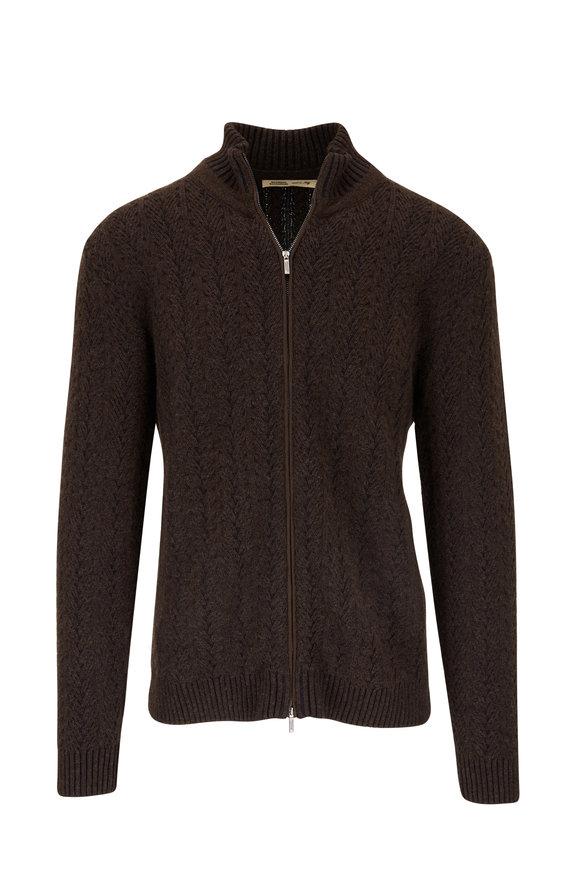 Maurizio Baldassari Black/Brown Cashmere Front Zip Sweater