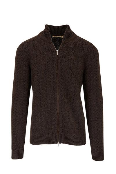 Maurizio Baldassari - Black/Brown Cashmere Front Zip Sweater