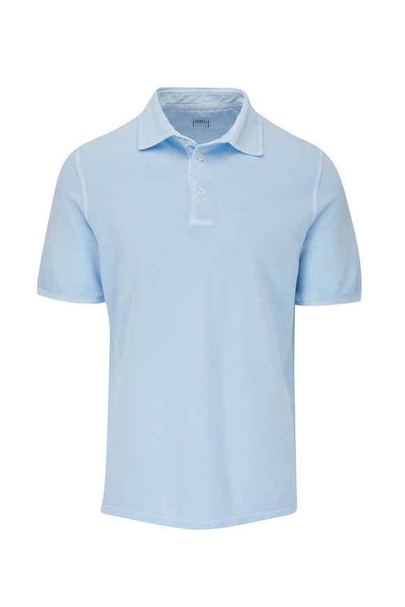 Fedeli Light Blue Frosted Piqué Polo