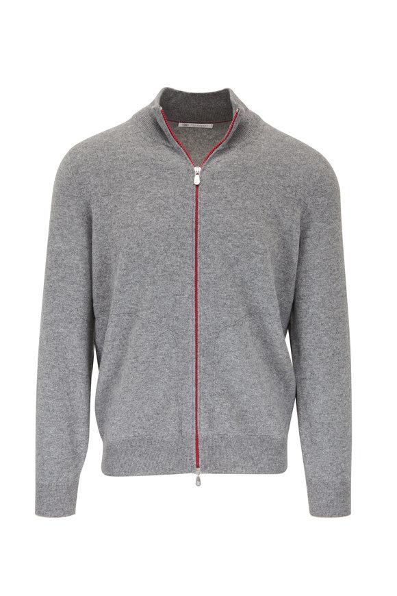Brunello Cucinelli Light Gray Contrast Zip Sweater