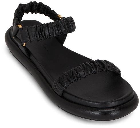 Khaite Puglia Black Leather Flat Sandal