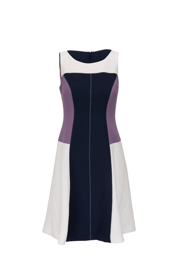 Donald Deal Purple Tri Color Cocktail Dress