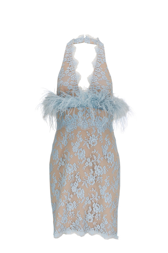 Donald Deal Light Blue Lace & Feathers Cocktail Dress