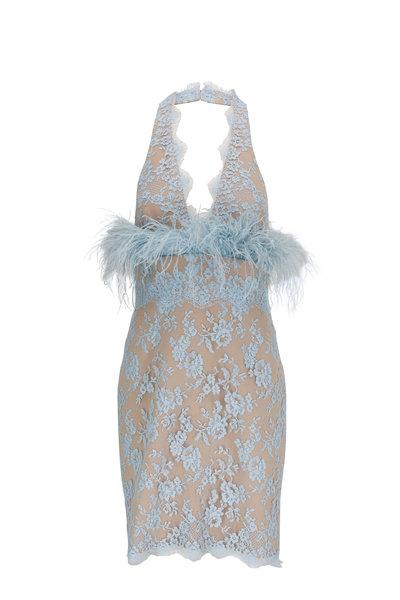 Donald Deal - Light Blue Lace & Feathers Cocktail Dress