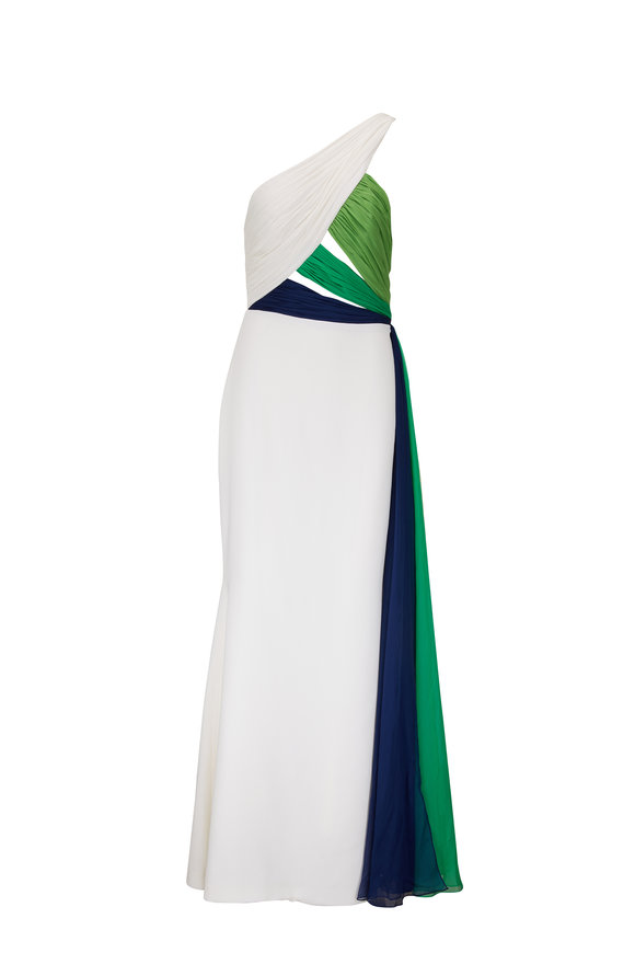 Donald Deal White, Green & Navy One Shoulder Gown